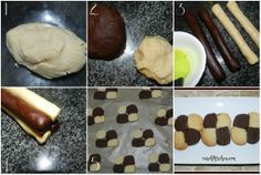 Chequered Biscuits - Step By Step Food To Make, Biscuits, Good Food, Pudding, Cookies, Baking, Breakfast, Desserts, Crack Crackers