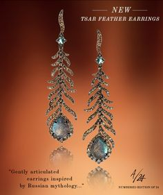 Annoushka Mythology Tsar Feather chandelier earrings- 18ct white gold, labradorite, and brown diamond.