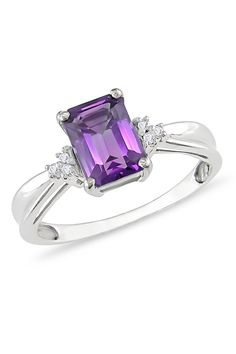1.4ct Amethyst & Diamond 10k Gold Ring