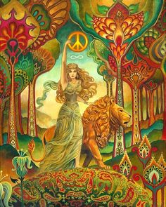 Woman with a lion holding up a gold peace sign.