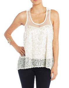 Ivory Sequined Mesh Flow Tank