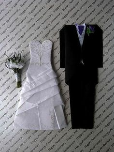 Origami bride & groom - love the multi-layered wedding gown