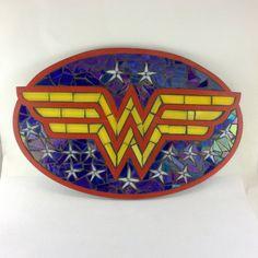 Wonder Woman Stained Glass Mosaic Plaque by piecesofmyart on Etsy Wonder Woman Birthday, Wonder Woman Party, Wonder Woman Shirt, Wonder Woman Cosplay, Stained Glass Patterns Free, Batman Comic Art, Batman Robin, Poison Ivy Batman, Justice League Wonder Woman