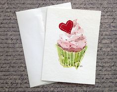 Valentines Cupcake Card - Original Watercolor greeting card on Etsy, $15.00