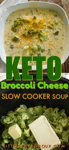 a keto broccoli cheese slow cooker soup that is easy to make, low in carbs, gluten-free and thickened with only cheesy goodness. It's a low carb broccoli cheese soup that everyone will enjoy.It's a keto broccoli cheese slow cooker soup that.