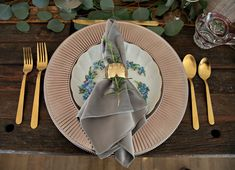 Dove Grey Plush Velvet Napkins add luxury to this rustic wood farm table