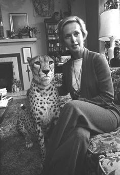Tippi Hedren at home with her pet cheetah Pharaoh