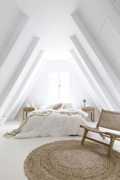 stunning all white bedroom with woven details