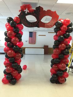 Sweet Sixteen Mascarade Ball themed balloon archway!