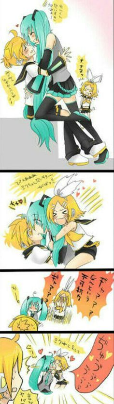 LENKUUU! Rin go away,you can have Gumi or Mikuo. >> *throws Len to the corner* Len, you can have memes. Rin KISS MIKU!