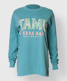 """This teal 100% cotton Comfort Colors longsleeve shirt reads """"TAMU, Texas A&M University"""" on the front."""