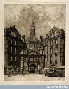 University College Hospital, London: the entrance facade on Gower Street. Etching. after: Paul Waterhouse and Alfred Waterhouse