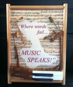 Piano art from repurposed piano parts with vintage sheet music background. Sheet Music Decor, Sheet Music Crafts, Vintage Sheet Music, Vintage Sheets, Diy Music, Music Sheets, Piano Art, Piano Music, Piano Room