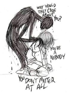 This is depression, not being sad. Being sad is being sad. This is depression at it's worst Depression Art, Depression Quotes, Art Tumblr, Image Citation, Arte Obscura, Ptsd, Trauma, Monsters, Sketchbooks