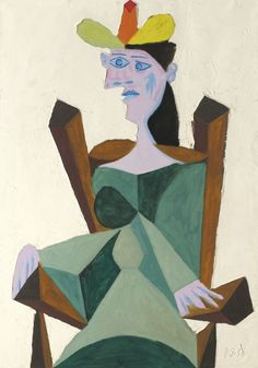 "Pablo Picasso's ""Femme Assise sur une Chaise,"" Credit 2015 Estate of Pablo Picasso/Artists Rights Society Pablo Picasso, Kunst Picasso, Art Picasso, Picasso Paintings, Framed Wall Art, Canvas Wall Art, Cubist Movement, Guernica, Art Moderne"