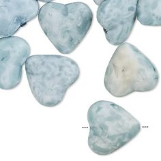 Bead, coated acrylic, opaque matte aqua blue, 15x14mm puffed heart with speckles. Sold per pkg of 30.