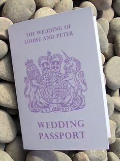 Cute wedding program covers for an international couple