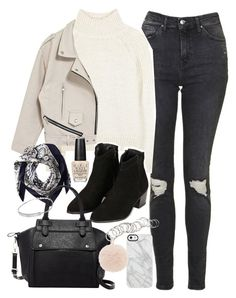 """""""Outfit for winter with a cream jumper and trousers"""" by ferned on Polyvore featuring Topshop, Vanessa Bruno Athé, Valentino, Pink Haley, Uncommon, Furla, H&M, OPI and Michael Kors"""