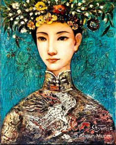 Chinese Woman Paintings - Summer II by Shijun Munns Paintings I Love, Paintings For Sale, Woman Painting, Figure Painting, Spring Art, We Are The World, Mexican Art, Blue Art, Mixed Media Art