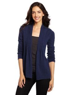 Design History Women's 100% Cashmere Pintuck Shawl Cardigan, Blue Lapis Heather, X-Small Design History,http://www.amazon.com  $148.50