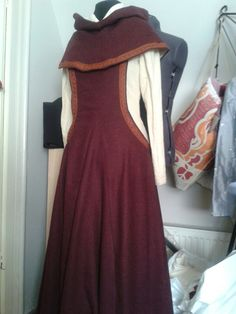 sideless surcoat - and matching hood in grey  and another in brown