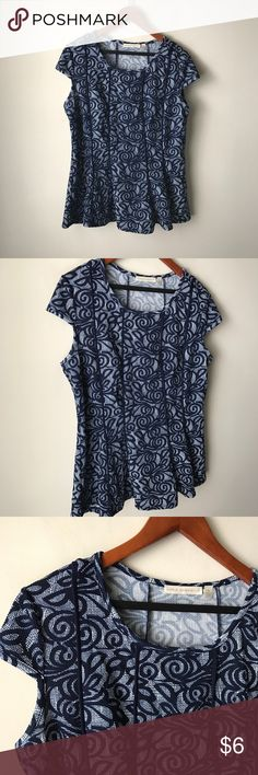 """Maria Gabrielle printed peplum style top Dark blue printed top - cap sleeves - stretch fabric - peplum style hemline - polyester/spandex - chest across measures 21"""" - total length measures 26"""" - size 1X Maria Gabrielle Tops"""