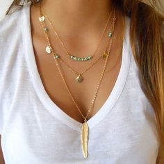 Gorgeous beaded multi-layer necklace with feather pendant - perfect for festival season! 3 layer necklace Gold chain with feather pendant Turquoise beading and coin details Feather Necklaces, Leaf Necklace, Boho Necklace, Fashion Necklace, Boho Jewelry, Women Jewelry, Pendant Necklace, Jewelry Necklaces, Fashion Jewelry