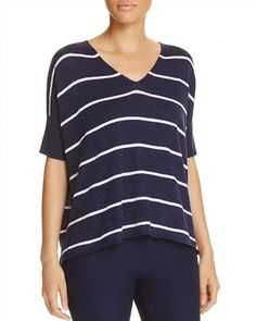 158.00$  Buy here - http://vixqh.justgood.pw/vig/item.php?t=kmr8oa23523 - Eileen Fisher Striped V-Neck Sweater 158.00$