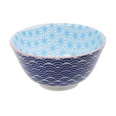 Bol à riz japonais intérieur bleu turquoise étoilé