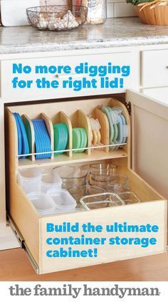 It's always a challenge to find matching containers and lids. This rollout solves the problem by keeping them all neatly organized and easily accessible. The full-extension drawer slides are the key. To simplify tricky drawer slide installation, we've des Red Kitchen, Kitchen Redo, Kitchen Pantry, Kitchen Design, Cheap Kitchen, Kitchen Hacks, Kitchen Drawers, Cupboards, Kitchen Must Haves