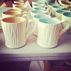 Ceramic mugs by Gina DeSantis, Functional Ceramic Art. American Made. 2013 Buyers Market of American Craft. americanmadeshow.com
