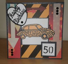 Men's 50th birthday card made using tattered lace free magazine papers and classic car die