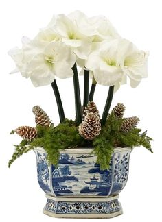 Fabulous 5 stem white amaryllis, pinecone with holiday greens arrangement Christmas Flower Arrangements, Christmas Flowers, Christmas Centerpieces, Blue Christmas, All Things Christmas, Christmas Home, Christmas Decorations, Holiday Decor, Artificial Floral Arrangements