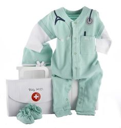 Baby Aspen Big Dreamzzz Baby M.D. Layette Set with Gift Box, Green, 0-6 Months $21.80