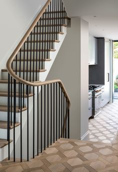 Bespoke solid oak stair with continuous curved handrail, elegantly connecting ea. by Cowen Architects Staircase Railings, Modern Staircase, Staircase Design, Stairways, Modern Railings For Stairs, Cottage Stairs, House Stairs, Indoor Railing, Oak Stairs