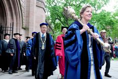Linda Koch Lorimer (right), Vice President of Yale University, carries the 24 pound Yale University Mace into Old Campus for the 312th Yale University Commencement in New Haven on 5/20/2013. Photo by Arnold Gold/New Haven Registe