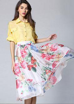 Women Pastoral Floral Printed A Line Big Pendulum High Waist Skirt