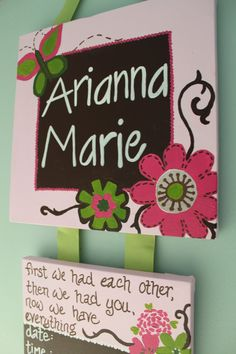 Customized Hospital Door Hanger for New Baby by gloriartbybrooke, $45.00