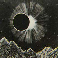 eclipse, moon, solar, sky, mountains, art, print,