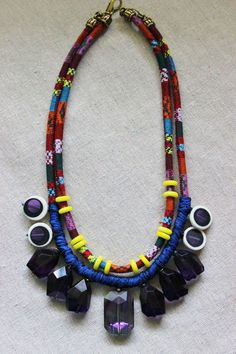 Ethnic boho necklace with chunky purple by StarsonMarsJewelryCo