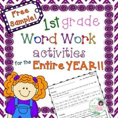 1st Grade Word Work activities with short stories, sorting, identifying, sentence writing, and more!
