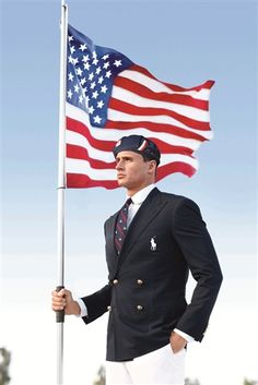 FILE - This product image released by Ralph Lauren shows U. Olympic swimmer Ryan Lochte modeling the the official Team USA Opening Ceremony Parade Uniform. Republicans and Democrats railed Thursday, products-i-love Ralph Lauren Olympics, Polo Ralph Lauren, Olympic Swimmers, Olympic Team, Olympic Games, Olympic Triathlon, Male Swimmers, Olympic Committee, Olympic Athletes