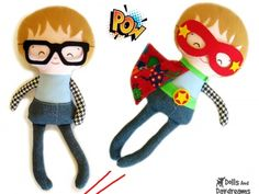 Superhero PDF Sewing Pattern, Instant Download from Dolls And Daydreams