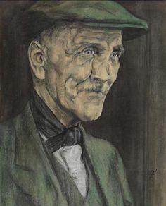 AUSTIN OSMAN SPARE (1886-1956) - 'Old Terrier' (Southwark Type - 1952)  Pastel on paper