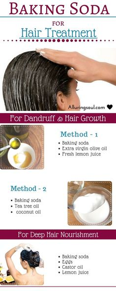 Baking soda is very effective for hair growth as well as for dandruff. It improves scalp condition, conditions 1air and unclogs pores. Check out for more benefits of baking soda for hair.