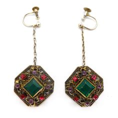 Antique Austro Hungarian Panel Glass Filigree Silver Earrings | Clarice Jewellery
