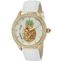 Betsey Johnson BJ00517-33 - Pineapple Watches ($95) ❤ liked on Polyvore featuring jewelry, watches, leather strap watches, analog wrist watch, betsey johnson jewellery, gold tone watches and bezel watches