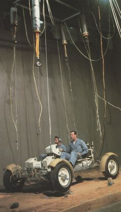 """David Scott tests out the lunar rover, suspended on wires to simulate lunar gravity. """"In such tests, the car tended to fishtail at high miles an hour."""" 10 miles an hour Nasa Space Pictures, Nasa Photos, Apollo Space Program, Nasa Space Program, Programa Apollo, Apollo Spacecraft, Moon Projects, Project Mercury, Apollo Missions"""