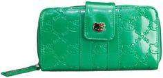Loungefly Hello Kitty Emerald Patent Embossed Wallet. Patent Embossed Hello Kitty Print. Zip around closure, Side snap. Clear I. D Holder, 6 Credit Card Slots, Zip Pocket, Organizer, Zip-Around. Measures: 8 x 4. Sanrio authentic licensed product, manufactured by Loungefly.