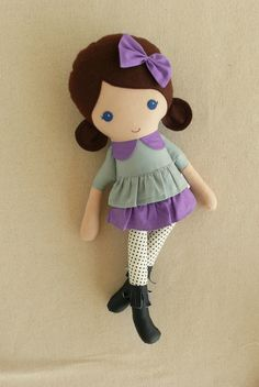 Reserved for Samantha Fabric Doll Rag Doll Brown by rovingovine